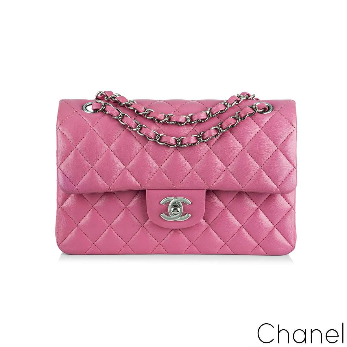 Chanel Fuchsia Pink Lambskin Classic Small Flap Bag